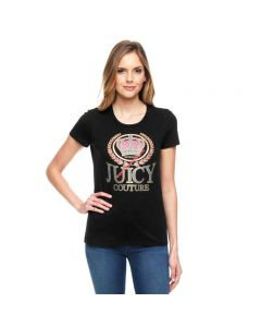 Juicy Couture Glitter Crown Graphic Tee T010 Women T-Shirt Black