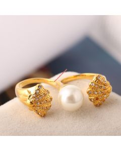 Juicy Couture Gold-Tone Diamond Shell Pearl Open Ring