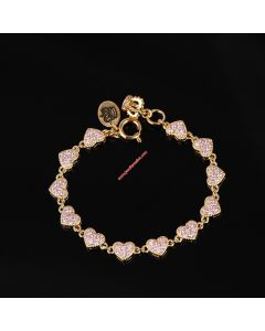 Juicy Couture Gold-Tone Pave Hearts Charm Hook Bracelet