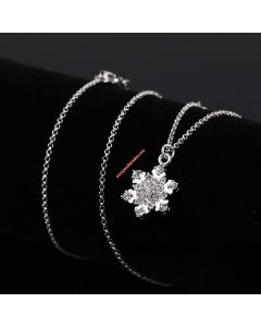 Juicy Couture Silver-Tone Diamond Snowflake Pendant Hook Necklace