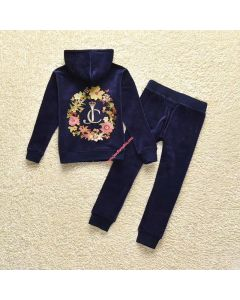 Juicy Couture Floral Crowned JC Tracksuit 2pcs Baby Suits Navy Blue