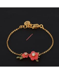Juicy Couture Gold-Tone Diamond Resin Flower Leaves Charm Hook Bracelet