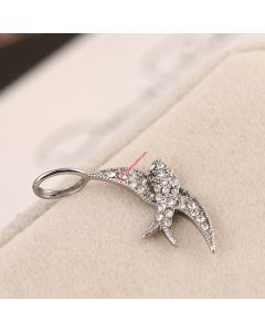 Juicy Couture Silver-Tone Pave Swallow Charm