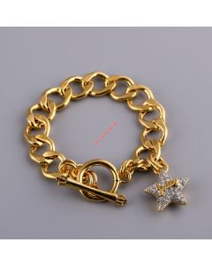 Juicy Couture Gold-Tone Pave Star Charm Toggle Bracelet