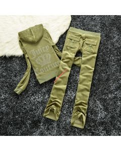 Juicy Couture Studded Logo Crown Velour Tracksuit 605 2pcs Women Suits Military Green