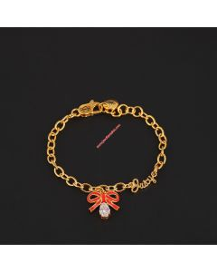 Juicy Couture Gold-Tone Enamel Glaze Bow Zircon Charm Hook Bracelet