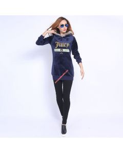 Juicy Couture FW2017 Velour Jacket 2pcs Studded Exquisite Juicy Logo Women Hoody Navy Blue