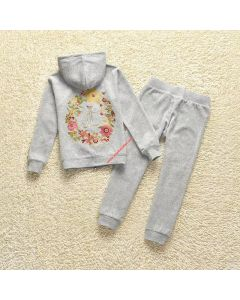 Juicy Couture Floral Crowned JC Tracksuit 2pcs Baby Suits Grey