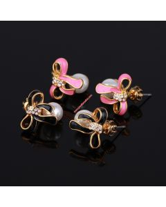 Juicy Couture Diamond Enamel Glaze Bow Pearl Earrings