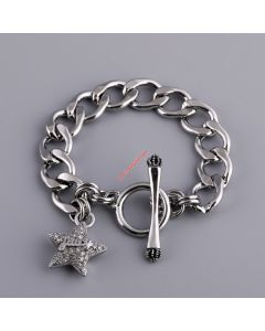 Juicy Couture Silver-Tone Pave Star Charm Toggle Bracelet