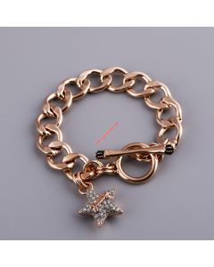 Juicy Couture Rose Gold-Tone Pave Star Charm Toggle Bracelet