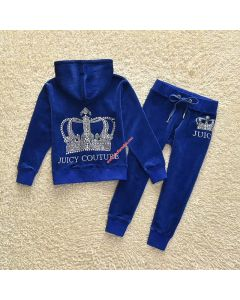 Juicy Couture Sequin Crown Tracksuit 2pcs Baby Suits Blue