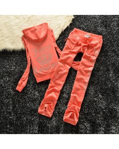 Juicy Couture Studded Logo Crown Velour Tracksuit 605 2pcs Women Suits Orange Red
