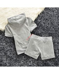Juicy Couture Studded Logo Crown Velour Tracksuit 608 2pcs Women Suits Grey