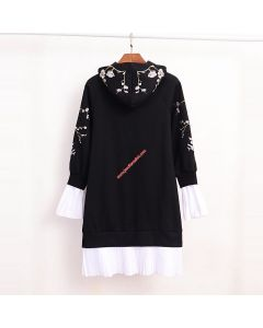 Juicy Couture Floral Jacquard Dress 3226 Women Hooded Dress Black