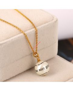 Juicy Couture Gold-Tone Letter Pearl Pendant Hook Necklace
