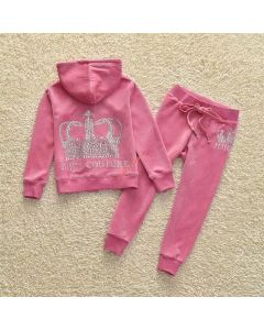Juicy Couture Sequin Crown Tracksuit 2pcs Baby Suits Pink