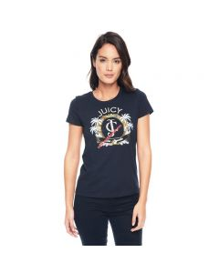 Juicy Couture Palm Trees Graphic Tee T009 Women T-Shirt Navy Blue
