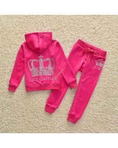 Juicy Couture Sequin Crown Tracksuit 2pcs Baby Suits Rose