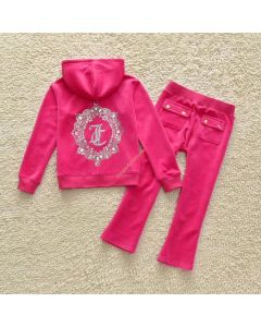 Juicy Couture JC Mirror Cameo Tracksuit 2pcs Baby Suits Rose