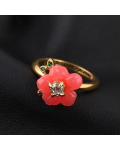 Juicy Couture Gold-Tone Diamond Resin Flowers Ring